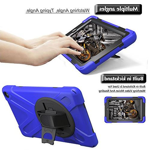Gzerma 8 Case and 8th Generation with Hybrid Rugged 360 Heavy Duty Protection Cover, Kickstand, Hand for HD8 Tablet Blue