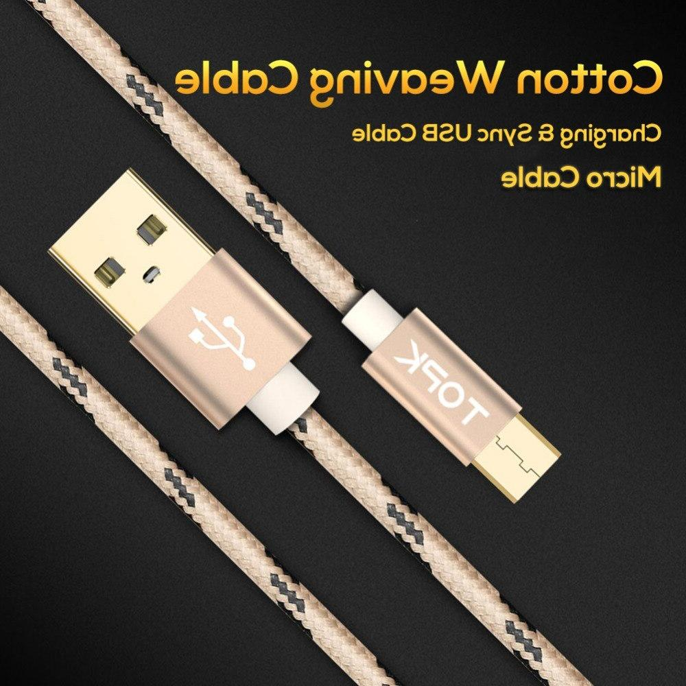 TOPK <font><b>Micro</b></font> <font><b>Cable</b></font>, Braided Metal Casing Charging for Samsung / / Huawei