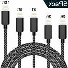 iPhone Charger WUXIAN Lightning Cable 5 Pack3/3/6/6/10ft USB