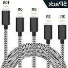 iPhone Charger,TNSO 5-Pack  Extra Long Nylon Braid Cord Ligh