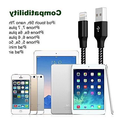 Lightning Cable, iPhone Charger Cables 6FT USB Data Nylon for iPhone More