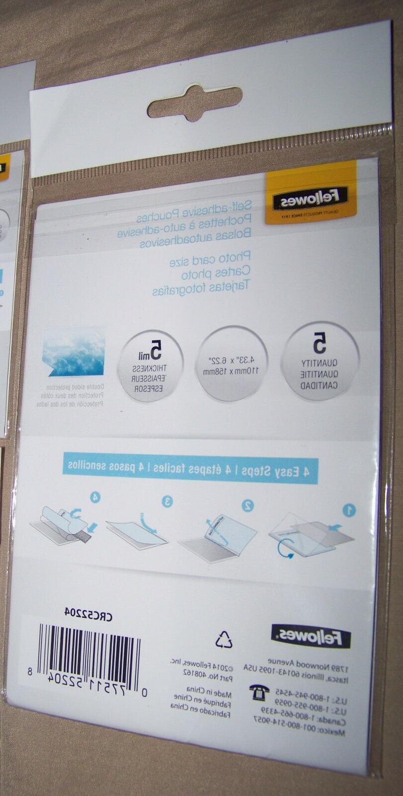 Fellowes Self-Adhesive Pouches + 5-Pack Photo