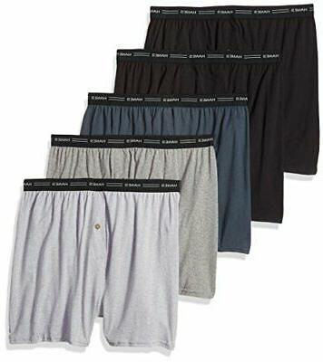 Hanes Men's 5-Pack Exposed-Waistband Knit Boxers Underwear L