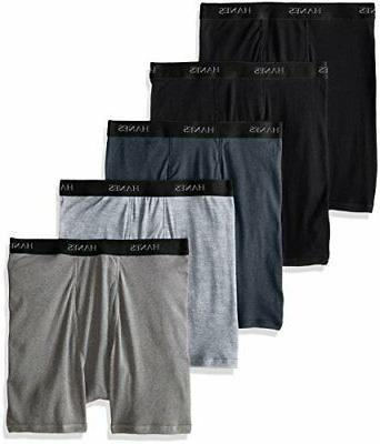 Hanes Ultimate Men's 5-Pack FreshIQ Boxer Brief, Black/Grey