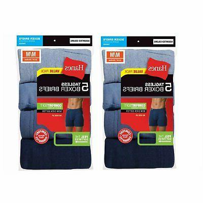 Hanes Men's Tagless Boxer Briefs 10-PACK Underwear S, M, L X
