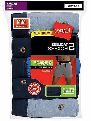 Hanes Mens Knit Boxers Underwear 5-Pack MKCBX5