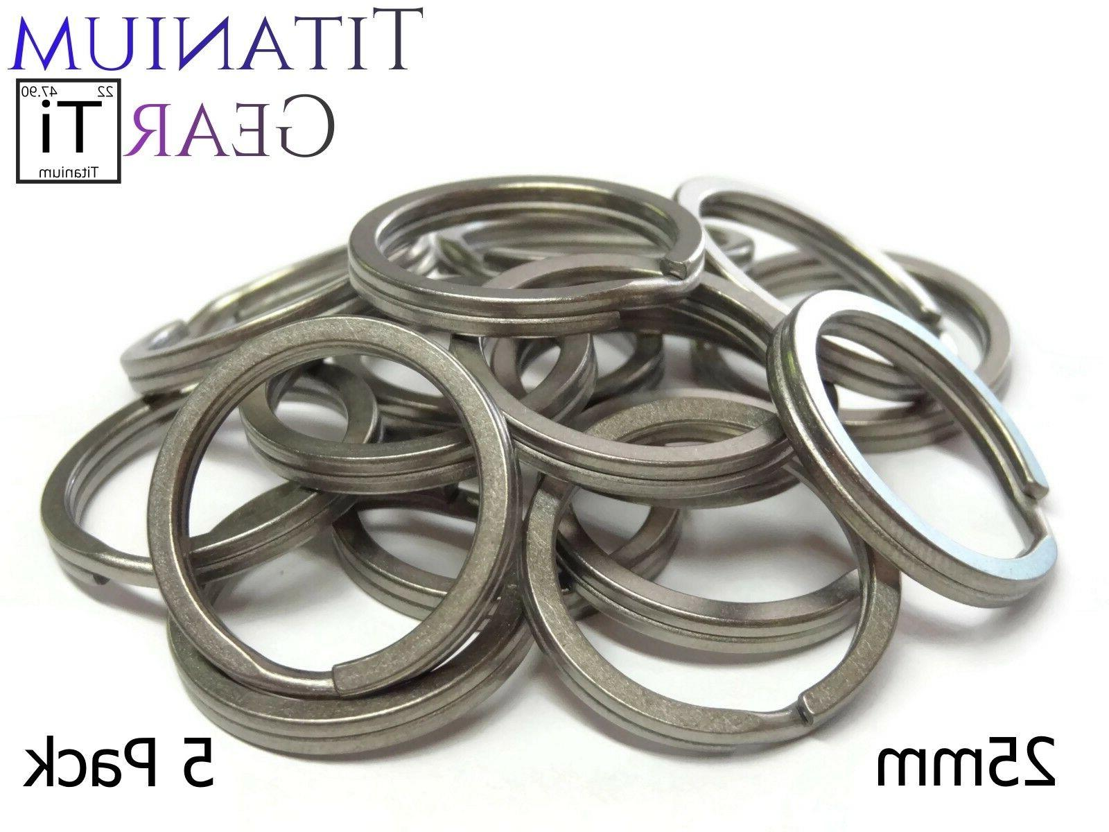 Titanium Key Ring 25mm - 5 Pack Ti Split Ring EDC TC4 Matte