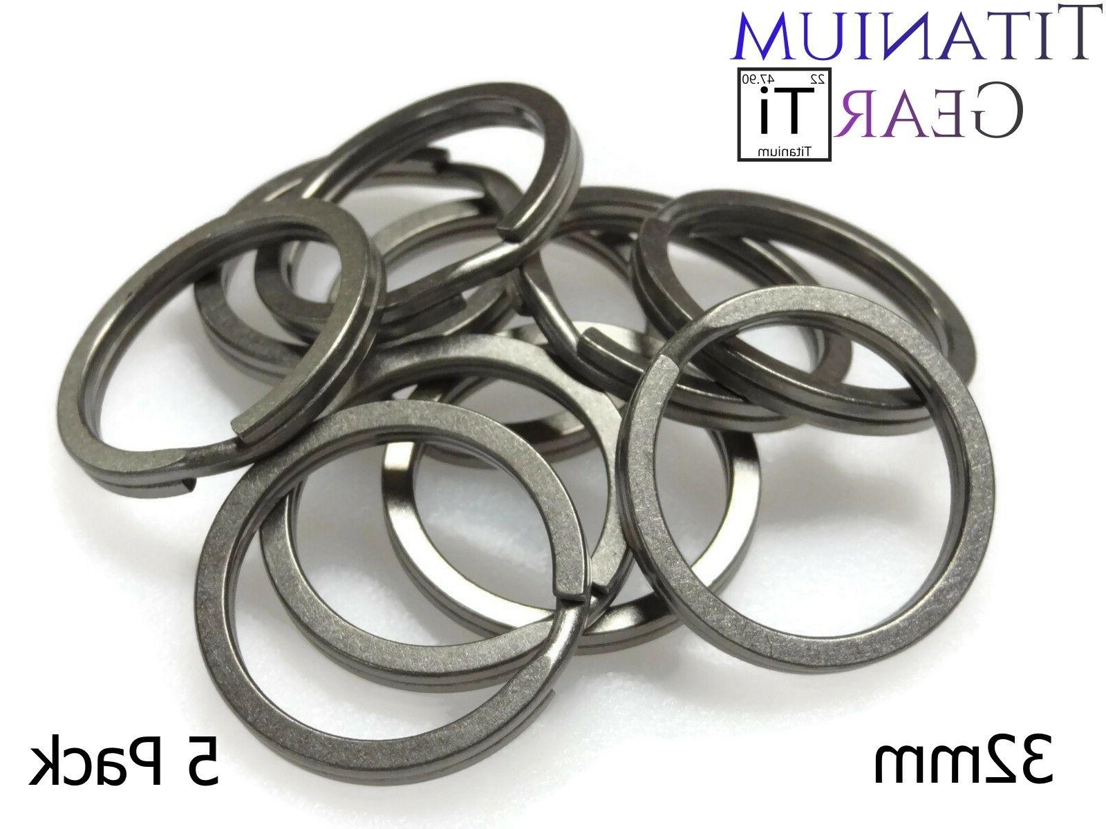 "Titanium Key Ring 32mm - 5 Pack Ti Split Ring 1 1/4"" EDC Mat"