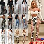 US Women's Lace UP Hollow Out PU Pants High Waist Skinny Ban