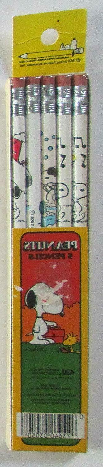 vintage peanuts and snoopy 5 pack pencils