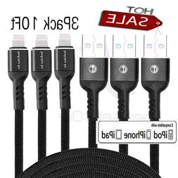 3 Pack 10 Ft Lightning Cable Heavy Duty iPhone X 8 7 6 5 Cha