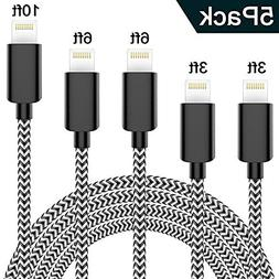 Lightning Cable, WUXIAN iPhone Charger 5-PACK  Nylon Braided