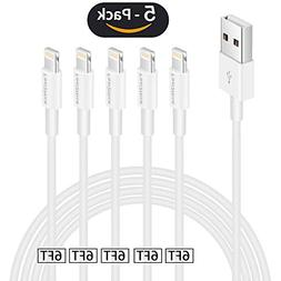 Iphone charger cable 6ft,Feel2Nice 5 Pack 6 foot lightning c