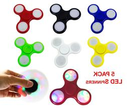 LOT OF 5 PACK Tri Fidget Hand Finger Spinner Gyro LED Flash