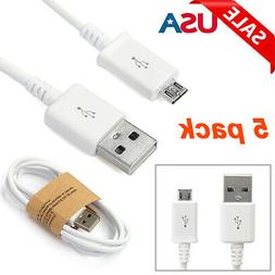LOTS 5-Pack Micro USB Charger Fast Charging Cable Cord For S
