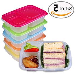 32 oz Lunch Containers 3 Compartment, 5 Packs BPA Free Meal