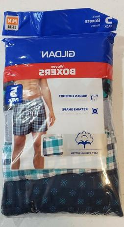 Gildan Men's 5 Pack Boxers Size Medium 32-34 NEW Soft Premiu
