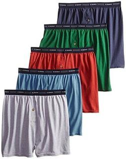 Hanes Men's 5-Pack FreshIQ Exposed Waistband Knit Boxers Ass