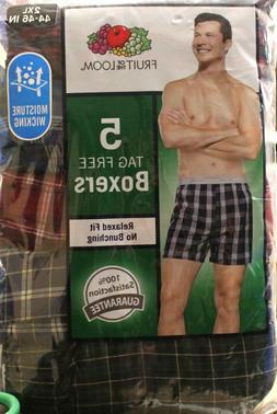 Fruit of the Loom Men's 5-Pack Woven Tartan Plaid Relaxed Fi