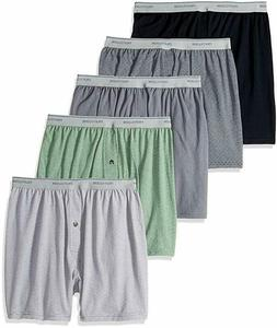 Fruit of the Loom Men's Exposed Waistband Knit Boxer 5 Pack
