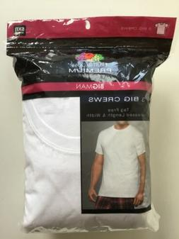Fruit of the Loom Men's White 3-Pack Crew Neck T-Shirts 5XB