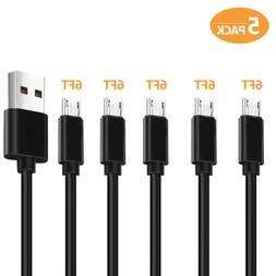 Micro USB Cable Fast Charger cord 5Pack 6FT for Samsung ,And