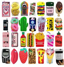 Novelty Food Cartoon Retro 3D Silicone Case Cover For iPhone