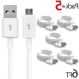 PACK OF 5 MICRO USB CHARGER FAST CHARGING CABLE FOR SAMSUNG