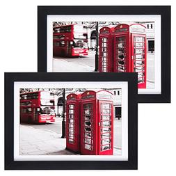 5x7 Picture Frames 2 Pack, UnityStar Black Wood Tabletop Pho