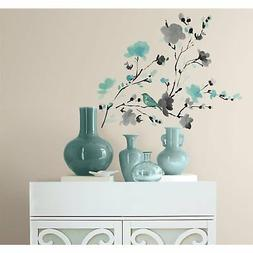 RoomMates Blossom WaterColor Bird Branch Peel and Stick Wall