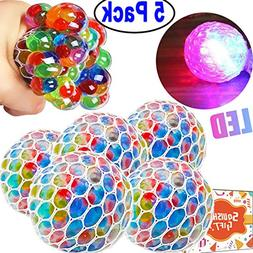 JingStyle 5 Pack Squishy Mesh Ball Stress LED Glowing Squeez
