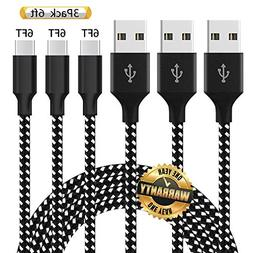 GUIGUI USB Type C Cable,3Pack 6FT Nylon Braided Fast Chargin