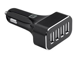 Monoprice 4-Port USB Car Charger, 9.6A Black