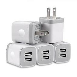 USB Charger, 5-Pack 5V/2.1AMP Power Adapters 2-Port Fast Dua