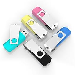 TOPESEL 5 Pack 2GB USB Flash Drives Thumb Drives Memory Stic