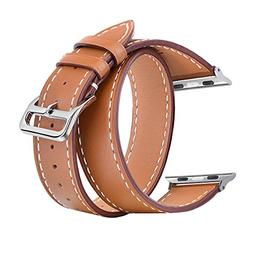 V-MORO Compatible 38mm 40mm Double Tour Leather Band for App