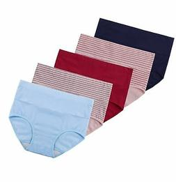 Innersy Women's 5 Pack High Waist Solid Color Tummy Control.