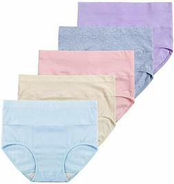 Innersy Women's 5 Pack High Waist Solid Color Tummy Control