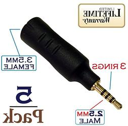 Josi Minea x 5 Pcs 2.5mm Male to 3.5mm Female Audio Adapter